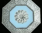 Blue Rosette Decoupage Plate