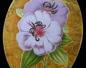 Purple Flower Decoupage Under Glass Plate