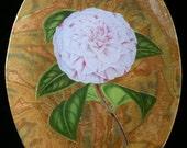White Stripe Carnation Decoupage Under Glass Plate