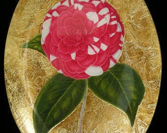Pink and White Carnation Decoupage Under Glass Plate