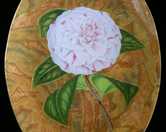 White Stripe Carnation Decoupage Under Glass Plate