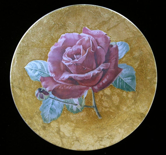 Red rose decoupage under glass plate by daykopajj on etsy for Rose under glass