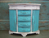 Jewelry Box Turquoise White Wooden Distressed