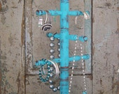 Jewelry Hanger Bracelet Necklace Display Turquoise Distressed