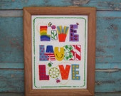 Vintage Needlepoint Crewel Bright Live Laugh Love Wall Hanging