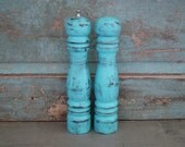 Turquoise Salt Shaker and Pepper Grinder Mill Distressed Wood