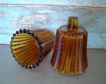 Set of Amber Votive Candle Cups Wall Sconce Vintage