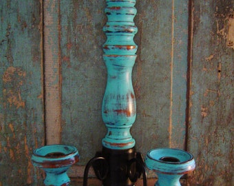 Candle Holder Wall Sconce Distressed Painted Custom Color Choice
