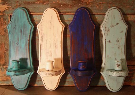 Seaside Shore Distressed Wood Candle Holder Sconces