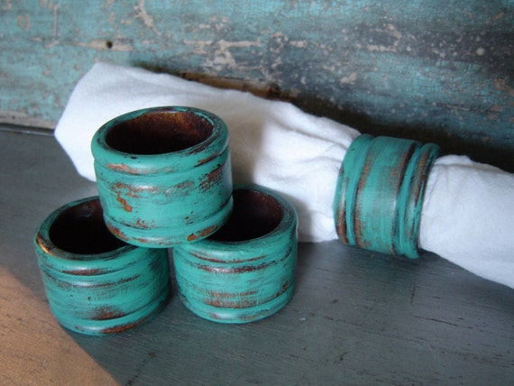Teal Wooden Napkin Rings Set of 4