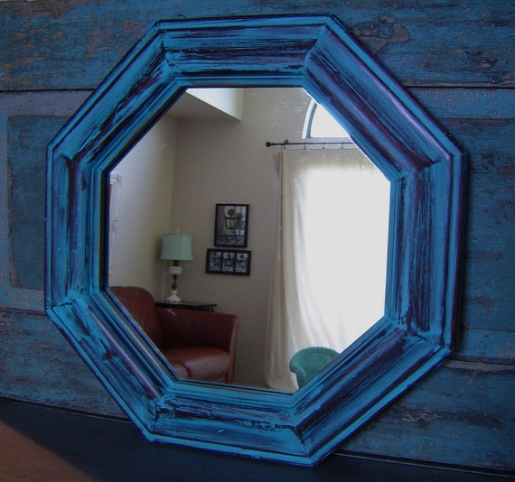 Turquoise Wood Frame Mirror Distressed By Turquoiserollerset