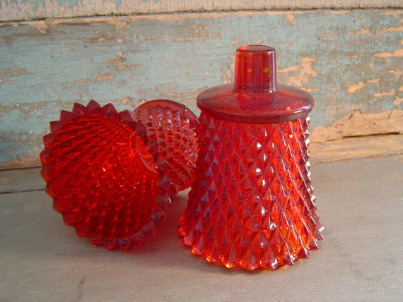 Red Votive Candle Cups Diamond Cut Glass Wall Sconce Vintage
