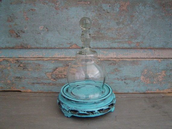Ornate Distressed Wooden Turquoise Cloche Glass Dome