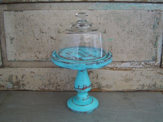 Pedestal Cloche Turquoise Distressed Wood
