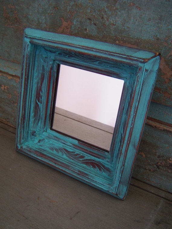 Turquoise Distressed Wood Frame Mirror By Turquoiserollerset
