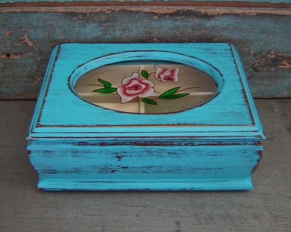 Turquoise Distressed Jewelry Box