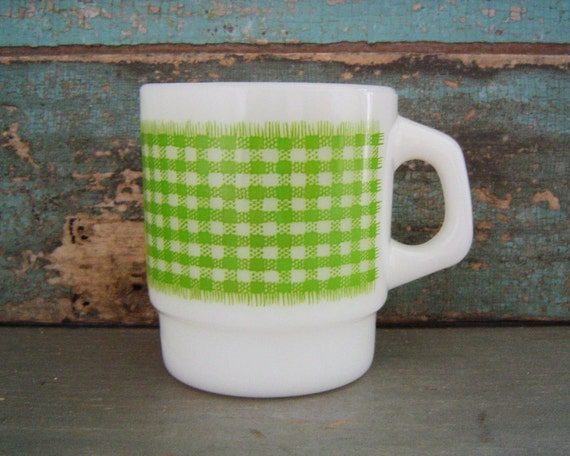 Green Gingham Plaid Fire King Anchor Hocking Mug Vintage