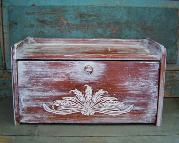 Bread Box White Washed Wooden Wheat Distressed