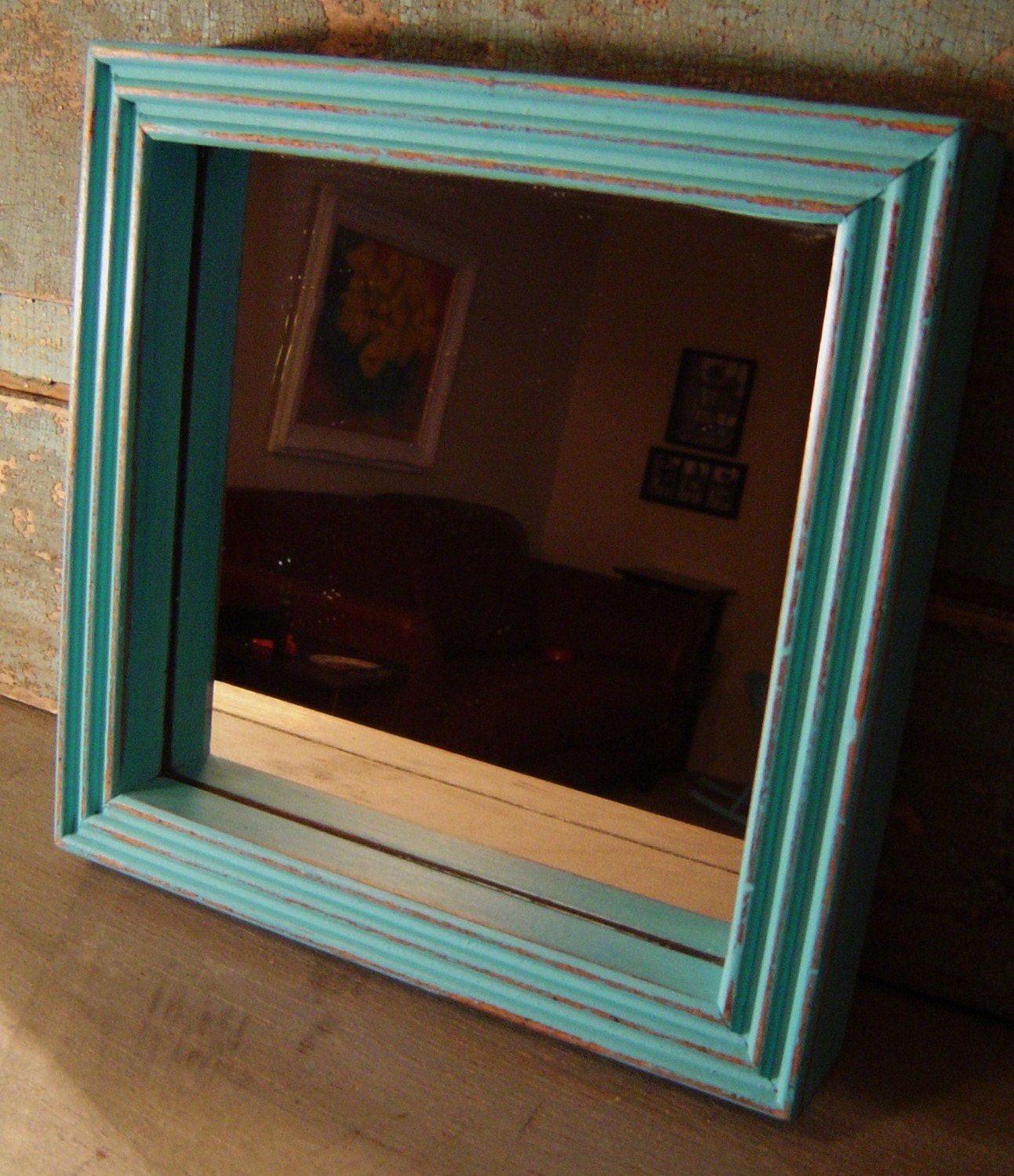 mirror wood frame turquoise distressed. Black Bedroom Furniture Sets. Home Design Ideas