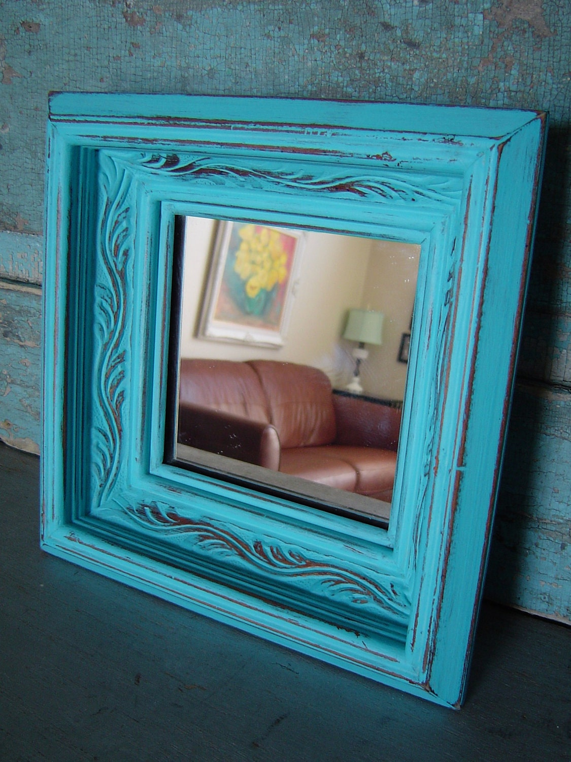 turquoise distressed wood frame mirror. Black Bedroom Furniture Sets. Home Design Ideas