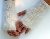 White Angora/Wool  Wrist Warmers