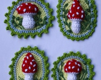Toadstool Patches x4 - Crochet Pattern