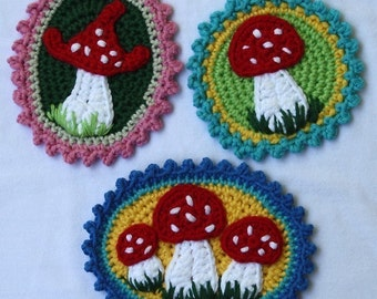 Patches with Mushrooms x3 - Crochet Pattern, PDF in English