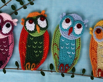 SCREECH OWL- Crochet Pattern (Applique), PDF in English, Deutsch