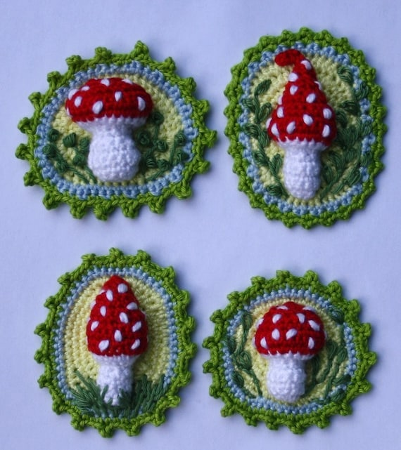 Crochet Patterns Etsy : Toadstool Patches x4 Crochet Pattern by CAROcreated on Etsy