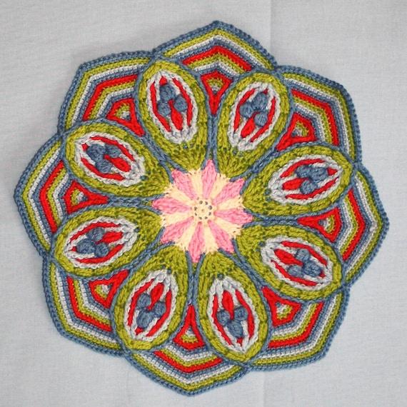 Crochet Overlay Mandala No. 2  - Pattern - PDF in English, Deutsch