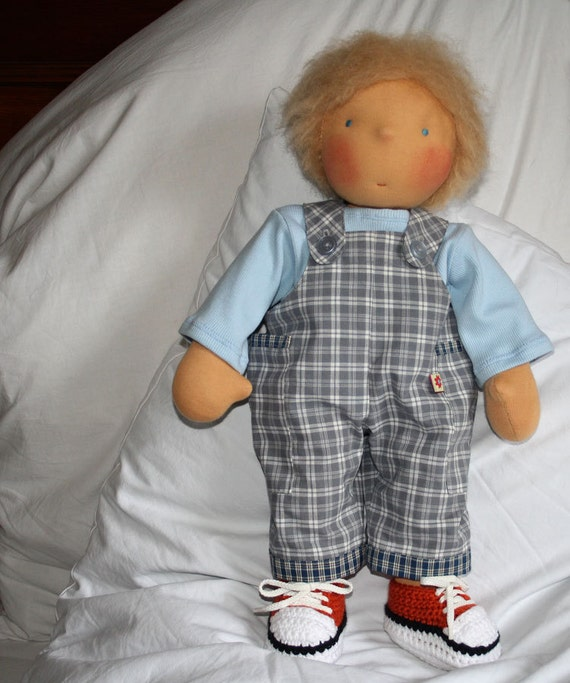 """Doll Outfit FINLEY (Overalls and Shirt) for 15-16"""" and 18"""" dolls  -  Sewing Pattern, Photo Tutorial, PDF"""