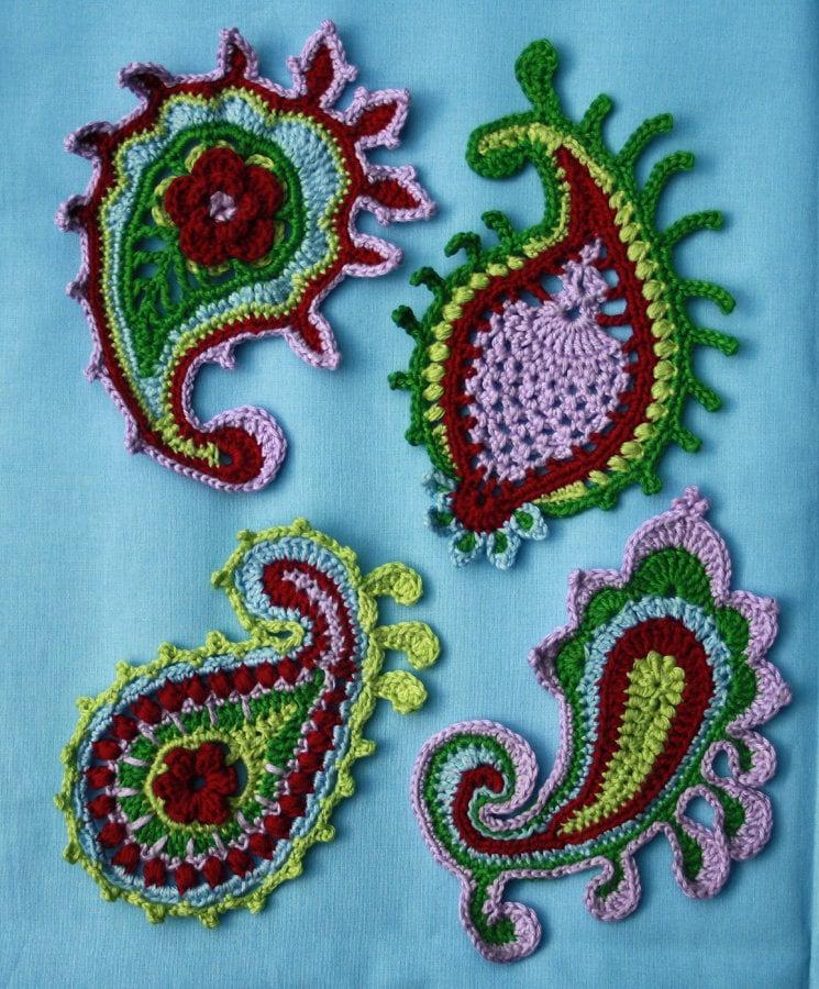 Free Crochet Paisley Motif Pattern : Paisley swirl crochet pattern PDF in English Deutsch