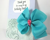 Thank You for Coming to My Birthday Party! Personalized Kids Favors for Ariel Themed Parties, Aqua Blue and Pink Hair Bows - set of 10