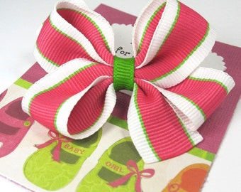 Sugar and Spice First Birthday Party Favors, Hot Pink and Lime Green Hair Bow on a Personalized Thank You Card, Handmade in Snellville, GA.