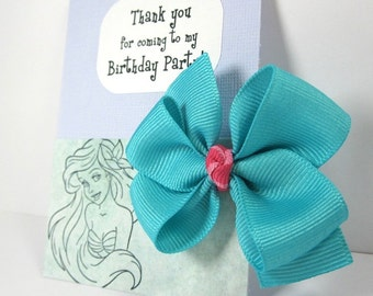 Thank You for Coming to My Birthday Party! Personalized Kids Favors for Ariel Themed Parties, Aqua Blue and Pink Hair Bows