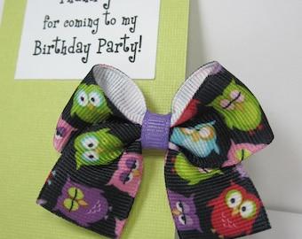 Owls Birthday Party Favor, Hair Bow on Thank You Card