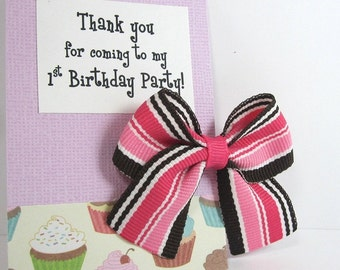 Cupcake Birthday Party Favors, Pink and Brown Hair Bow on Thank You Card