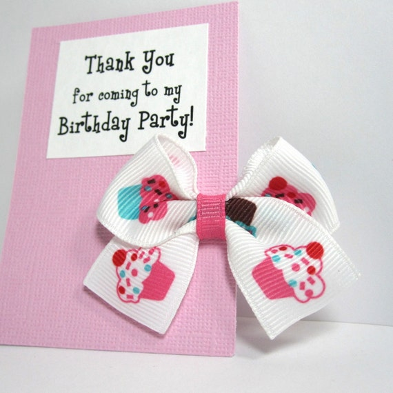 Cupcake Hair Bow Birthday Party Favor on Rose Pink Thank You Card - Set of 12