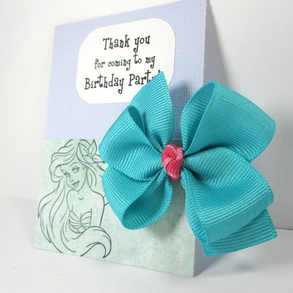 Mermaid Birthday Party Favors, Aqua Blue and Pink Hair Bow with Personalized Message - set of 12