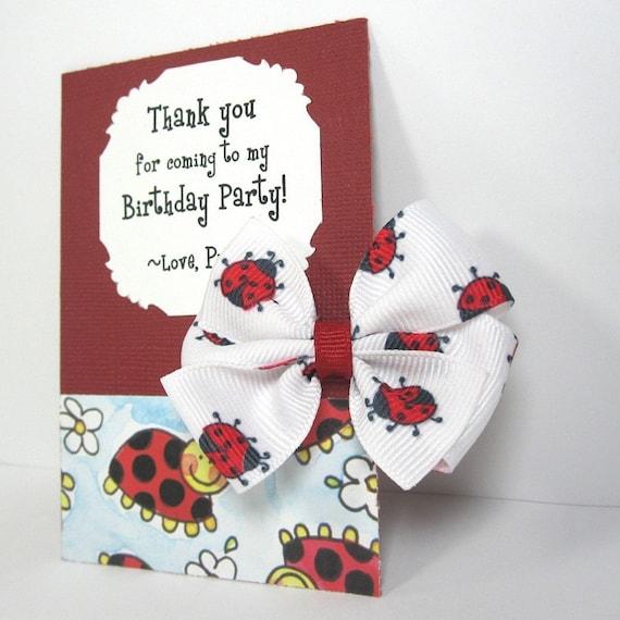 Ladybug Birthday Party Favor, Ladybug Hair Bow on Personalized Thank You Card - set of 12