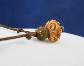 Olive and Ivory: Carved Bone Adjustable Necklace N173
