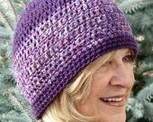 Purple Crochet Skullcap Hat Woman Winter Original