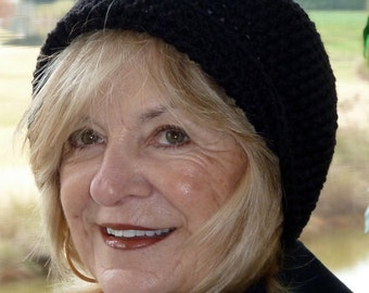 Black crochet hat women's winter hat basic black hat