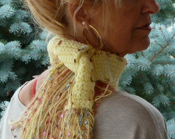 girl's scarf yellow crochet small scarf bohemian accessories women's fashion