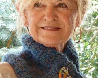 Bohemian Accessories Blue Crochet Cowl