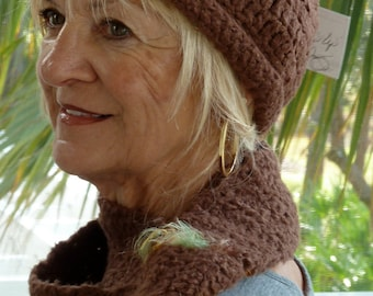 Women Fashion / Brown Crochet Hat and Scarf Set / Original Ski Accessories / Hats By Anne / Colorado Clothing