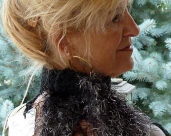 crochet scarf black winter scarf bohemian clothing women's fashion
