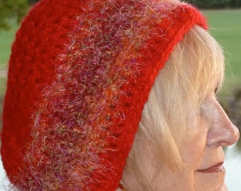 Red Hat Society / Red Crochet Hat / Slouchy Red Hat / Winter Accessories / Women's Fashions