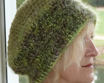 Women's crochet hat slouchy green hat winter ski accessories