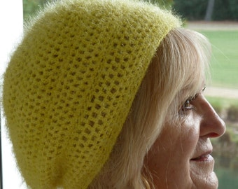 Slouchy hat spring crochet hat yellow women's hat women's fashion bohemian hat